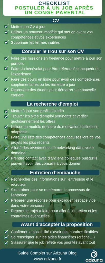 checklist nouvel emploi parent